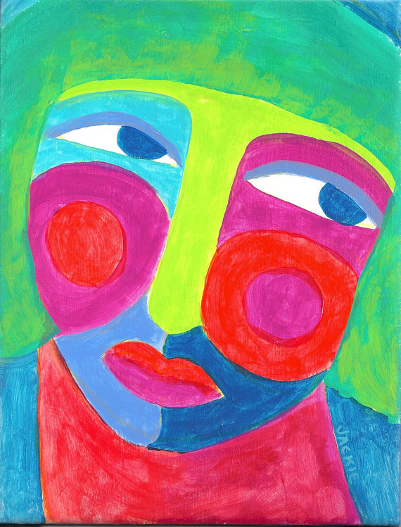 Hand Painted Ceramic Tile Funky Abstract Face Painting